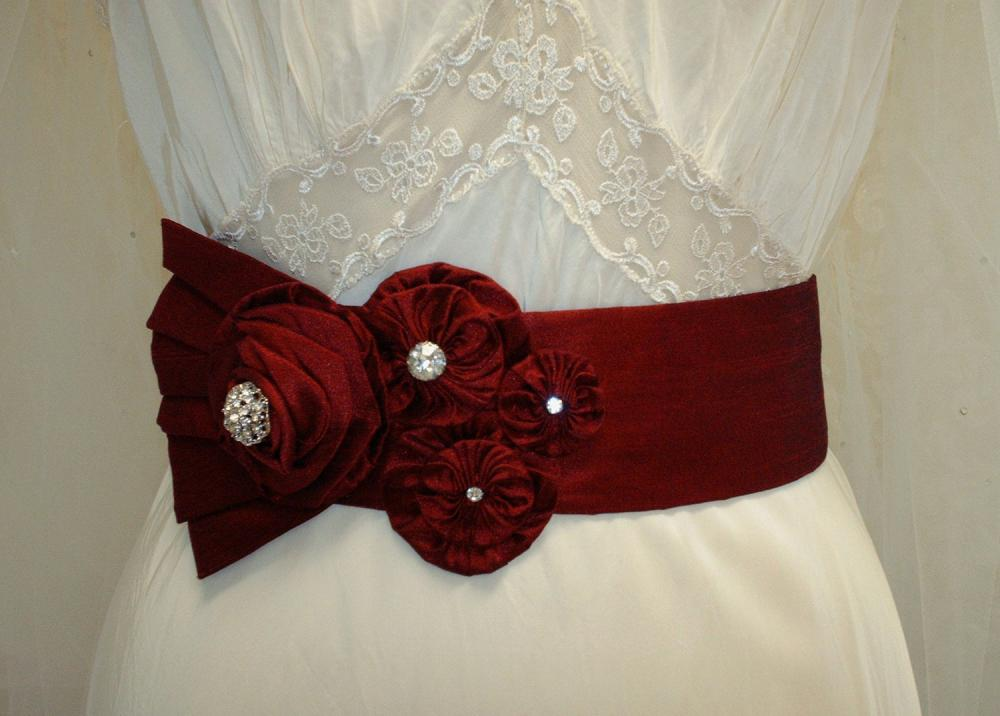 Red Bridal Sash / Red Wedding Floral Sash, Red Wedding Sash Rhinestone Sash