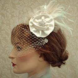 Flower Feather Fascinator, Wedding Satin Hair Clip, Birdcage Veil, Headpiece, Ivory, Edwardian Wedding, Retro Vintage, Carolina Moon Designs