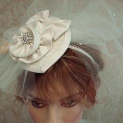 Bridal Fascinator Hat / Hair Clip / Headband With Teardrop Tulle Blusher Veil