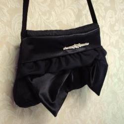 Evening Bag Clutch / Black Satin,Taffeta, Rhinestones - Wedding, Special Occassion