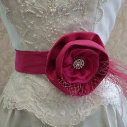Floral Bridal Sash Belt / Bright Pink Fuchsia, Hand Dyed Ostrich Feathers, Bridcage Netting, Bridal Accessories