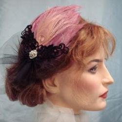 Diva Feather Fascinator Pink And Black For Dance Ballerina Burlesque / Bride Or Bridesmaid