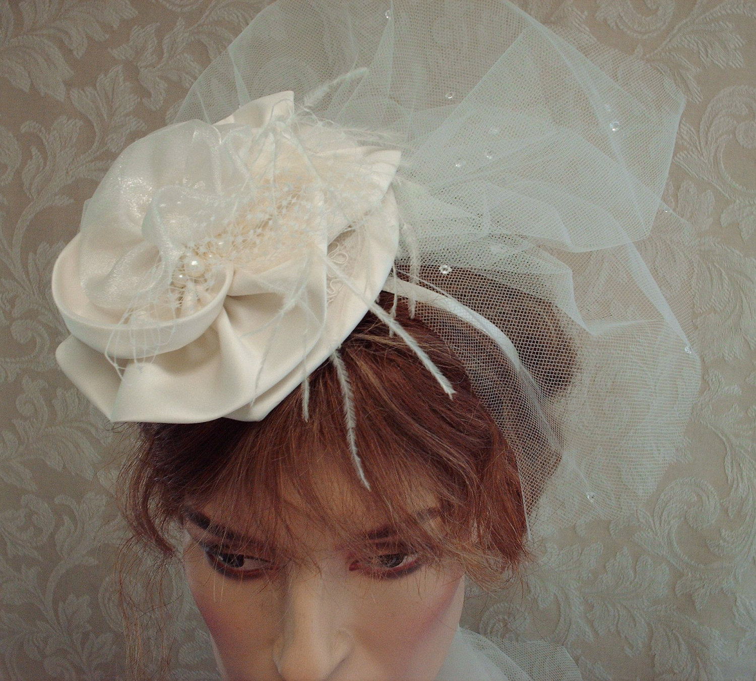 e23c47dcd8d1b Ivory Bridal Floral And Lace Cocktail Hat   Fascinator With Teardrop Tulle  Birdcage Veil on Luulla
