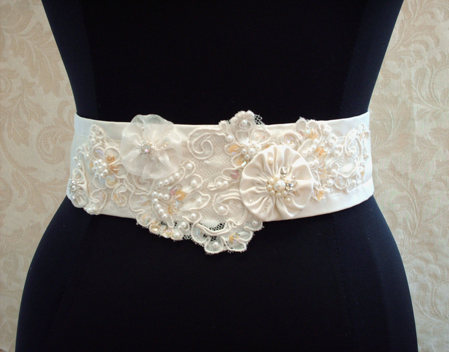 Beaded Wedding Sash Belt / Vintage Ivory Lace, Satin, Organza ...